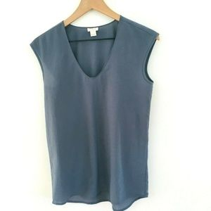 J.Crew Gray V-Neck Cap Sleeve Top